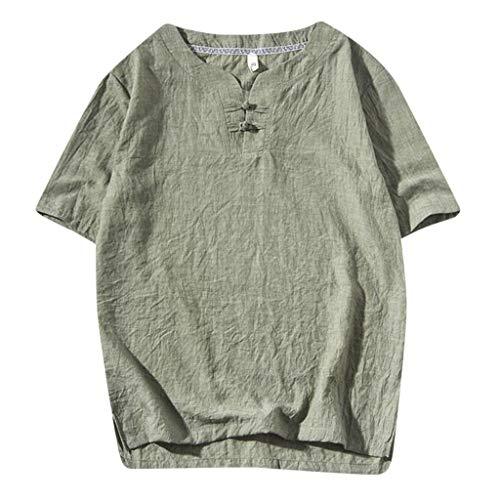 Xmiral T-Shirt Herren Kurzarm V-Ausschnitt Einfarbig Oberteile Große Größe Kurzarmshirt Männer Sommer Sweatshirt Basic Hemd(Armee Grün,M)