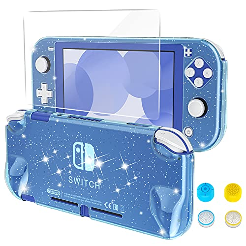 HEYSTOP Case Compatible with Nintendo Switch Lite, with Tempered Glass Screen Protector and 4 Thumb Grip, Front and Back, All-Round Protective case (Blue)