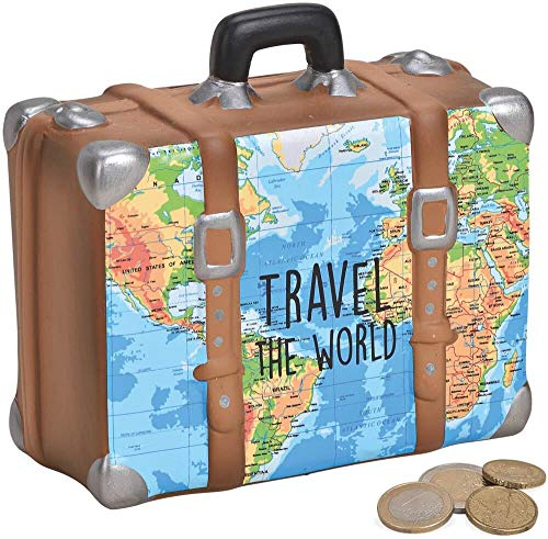 matches21 HOME & HOBBY geld box vakantie fonds koffer wereldkaart blauwe spaarpot keramiek 1 stuk 14x6x13 cm