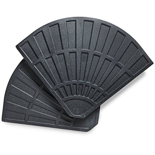 VonHaus Sonnenschirmständer (12Kg) – Beton Rund Schwerlast Sonnenschirmständer - 2X 12,5kg Gewicht für Sonnenschirme