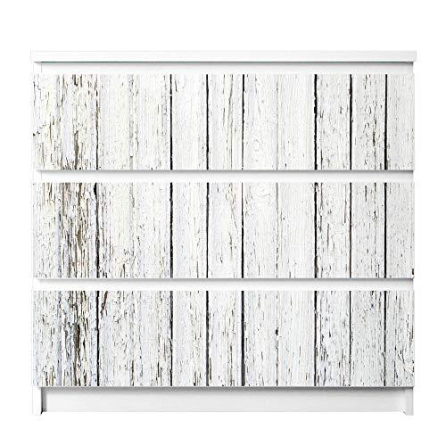 banjado Möbelfolie passend für IKEA Malm Kommode 3 Schubladen | Möbel-Sticker selbstklebend | Aufkleber Tattoo perfekt für Wohnzimmer und Kinderzimmer | Klebefolie Motiv Weißer Bretterzaun