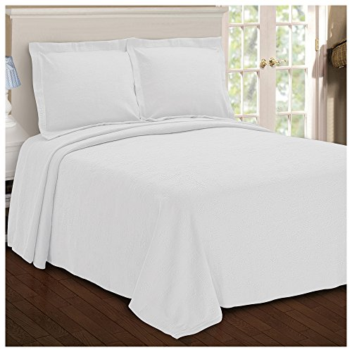 Superior Paisley Jacquard Matelassé 100% Premium Cotton Bedspread with Matching Shams, Queen, White