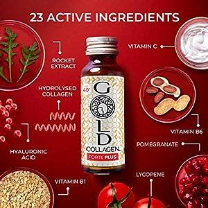 Gold Collagen Forte Plus | The Original #1 Liquid Collagen Anti Aging Beauty Supplement | Marine Collagen Drink with Hyaluronic Acid, Antioxidants, Vitamins & Minerals for Skin, Hair, Nails