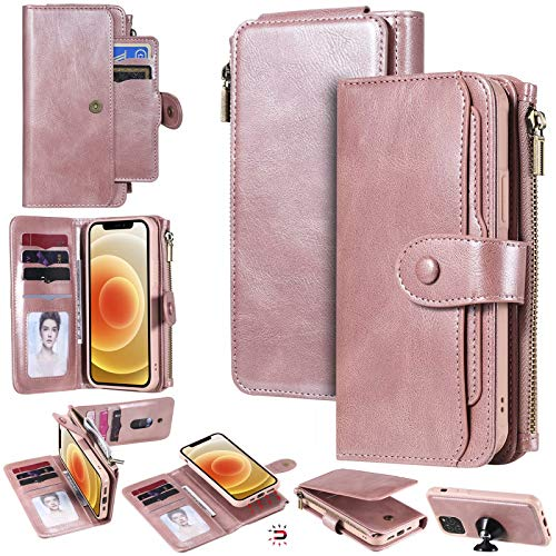 YIKATU Wallet Case for iPhone 12/12 Pro61 Inch Leather Case with Card Holder2 in 1 Premium Leather Zipper Detachable Magnetic Card Slots Money Pocket Clutch  Rose Gold