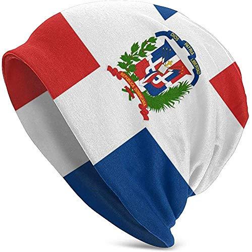 Bandera de Repblica Dominicana Unisex Soft Beanie Cap Rayas Slouchy Chemo Hat Turbante Cosy Skull Cap Ligero Stretch Sleep Hat para Hombres Mujeres Accin de Gracias