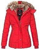 Marikoo warme Damen Winter Jacke Winterjacke Steppjacke gefüttert Kunstfell B658 [B658-Nek-Rot-Gr.XL]