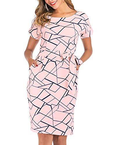 YEEKA Dresses for Women Striped Elegant Short Sleeve Casual Pencil Dress with Belt (Medium, Pink-2)
