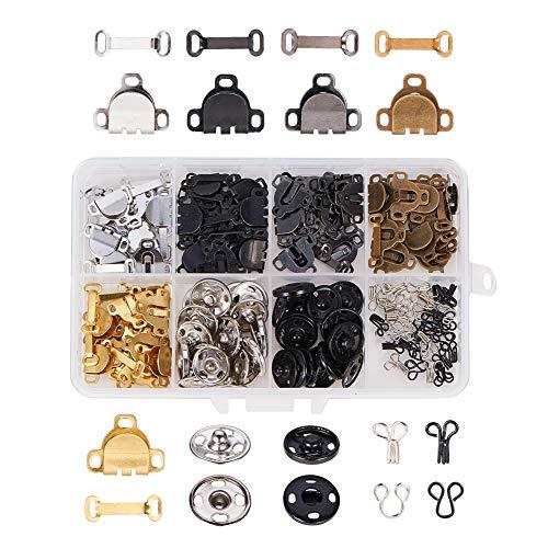 NBEADS Kits de Sujetadores de 90 par, 3 Estilos Prendas de Coser Ganchos Y Juego de Ojales Botón de Presión de Costura de Hierro Y Botones de Presión Sujetadores Reparación Y Decoración