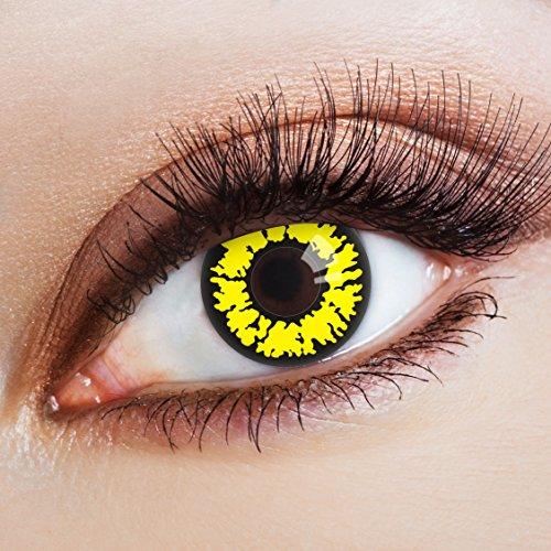 aricona Kontaktlinsen – farbige Kontaktlinsen ohne Stärke - deckende gelb-schwarze Kontaktlinsen für dein Halloween Kostüm