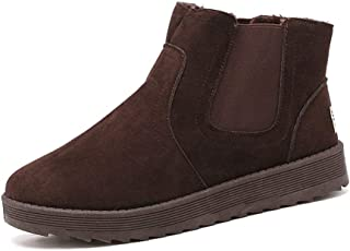 SHENTIANWEI Chelsea Boots for Men Snow Ankle Boot Suede Pull on Elastic Band Round Toe Flat Anti-Slip Faux Fur Lined Winter Solid Color (Color : Brown, Size : 6.5 UK)