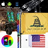 Whip Lights - AUTOOMMO 2Pcs 3FT Spiral RGB LED Chasing Whip Light with Gadsden Flag Remote and APP Control 300 Flash Patterns for UTV ATV Off-Road Truck Sand Buggy Dune RZR Can-Am