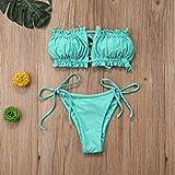 YSYSZYN Traje de baño de Las señoras Summer Women Trajes de baño Pliegues Bikini Baño de baño Bandeau Bikini Micro Traje de baño Femenino Push Up Traje de Dos Piezas Sexy (Color : Green, Size : L)