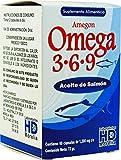Amegon Omega 3 6 9 Aceite de Salmón con Aceite de linaza y Oliva, 60 caps (72 g) , Empaque Varia