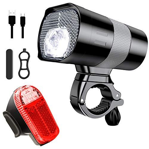 Fahrradlicht Set, 3 Licht-modi Fahrradlampe, StVZO zugelassen, USB Aufladbar Frontlicht und Rücklicht Set, Wasserdicht, Gut für Pendeln im Dunkeln