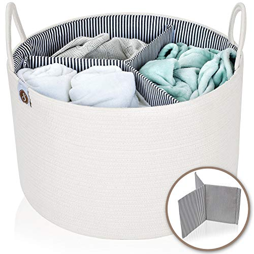 Spacense 20quot X 135quot Extra Large Cotton Rope Basket  Bonus Removable Divider | Laundry Basket That Can Be Used for Toy Storage | Beautiful Blanket Basket | Woven Basket | Large Storage Baskets