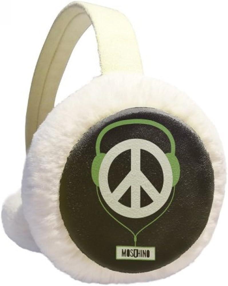 Gray Headset Music Listening Sounds Winter Ear Warmer Cable Knit Furry Fleece Earmuff Outdoor
