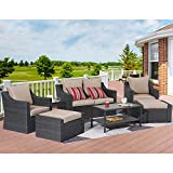Outdoor Sectional Furniture 8-Piece Patio Conversation Furniture Set, Rattan Wicker Chair Patio Sofa Furniture w/Glass Table, All-Weather Outdoor Furniture Set with Removable Washable Coffee Cushions