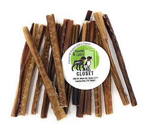 bully sticks elks Sancho & Lola's 6-Inch Thin 6oz (10-14 Count) Odor-Free Bully Sticks for Dogs Made in USA/Sourced in USA/Human-Grade/Chef-Prepared/Rawhide-Free Beef Pizzle Dog Chews