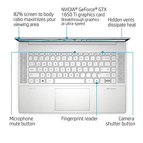 "Product Image 1: HP Envy 15 Laptop, Intel Core i7-10750H, NVIDIA GeForce GTX 1650 Ti Graphics, 16 GB RAM, 512 GB SSD Storage,15.6"" Full HD Touchscreen, Windows 10 Home, Fingerprint Reader (15-ep0010nr, 2020 Model)"