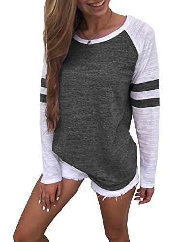 Generic Hiistandd Damen Langarmshirt Farbblock Langarm T-Shirt Casual Rundhals Tunika Tops (Small, Dunkelgrau)