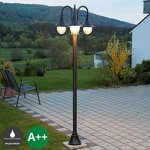 Lampenwelt Mastleuchte außen \'Daphne\' (spritzwassergeschützt) (Modern) in Schwarz aus Aluminium (3 flammig, E27, A++) - Kandelaber, Außenleuchte