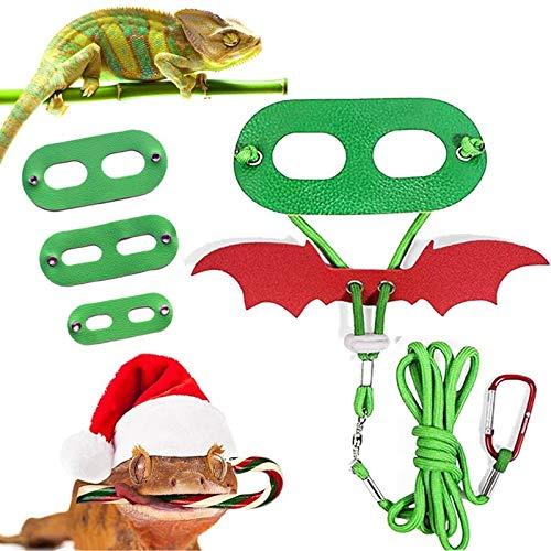 CheeseandU Christmas Bearded Dragon Lizard Leash Harness Set - Bearded Dragon 3Pack Green Harness +1 Pack Red Bat Harness Leash for Bearded Dragon Lizard Reptile Small Pets
