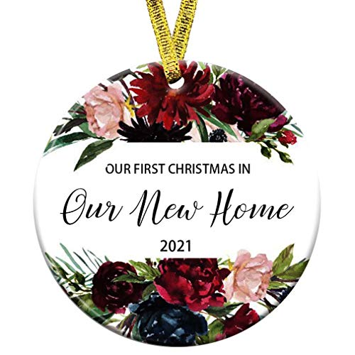 Kooer Our First Christmas in Our New Home Ornament 2020 1st Year Married Newlyweds 3' Flat Circle Porcelain Ceramic Wedding Ornament (Our New Home)