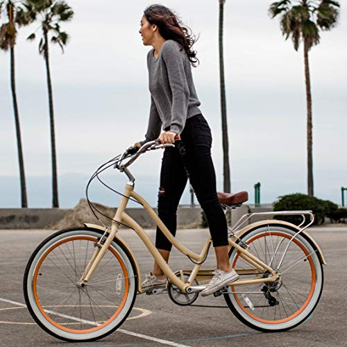"Womens Hybrid Bikes: sixthreezero Women's 7-Speed Step-Through Hybrid Cruiser Bicycle, 26"" Wheels with 17.5"" Frame, Cream with Brown Seat and Grips, Model:630034"