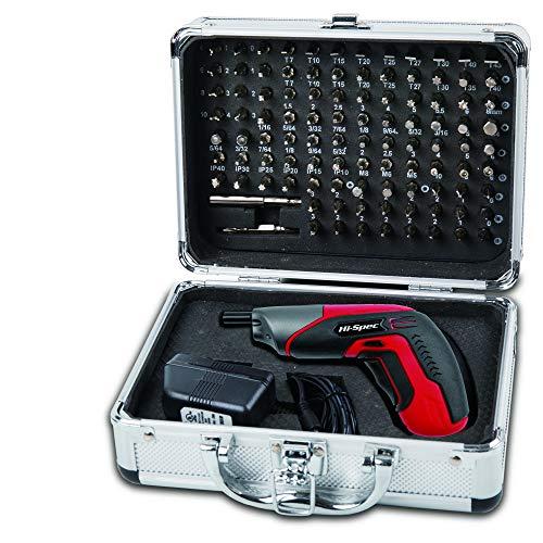 Hi-Spec Kit Completo de Atornillador Eléctrico Inalámbrico de 3.6V con Batería Recargable de 1300mAh, Luz LED y Maletín con 102 Puntas de Destornillador