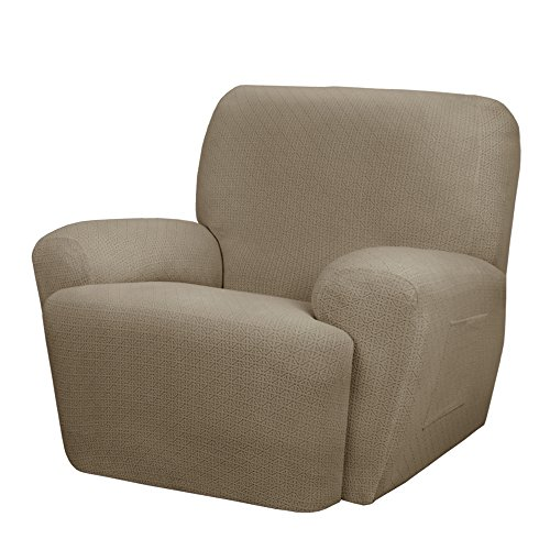 MAYTEX Torie Stretch 4Piece Recliner Furniture Cover/Slipcover, Tan
