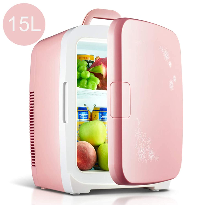 。シャーロックホームズ理解カー冷蔵庫、15Lハンドル付きミニ冷蔵庫、加熱/冷却ミニバー自立小型冷蔵庫-3°-65°C飲み物用テーブル冷蔵庫部屋の冷蔵庫12V / 220?230V静かに、ピンク