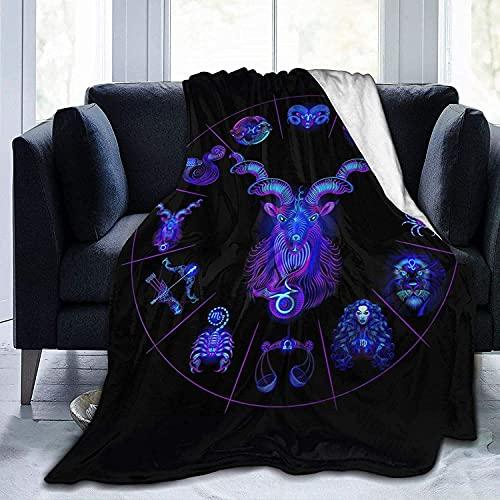 Neón Horoscope Circle Zodiac Throw Fleece Blanket Flannel Ultra Soft Lightweight Microfiber...