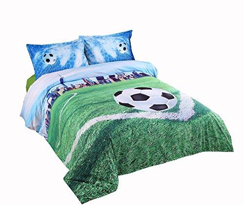 Lebather 3D Green Soccer in Field Bedding Cotton 4-Piece Duvet Cover Set with 2 Pillow Sham,1 Flat Sheet,1 Duvet Cover,Queen Size