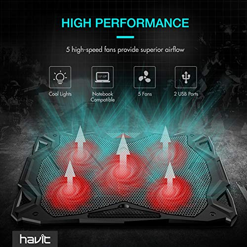 Product Image 2: havit 5 Fans Laptop Cooling Pad for 14-17 Inch Laptop, Cooler Pad with LED Light, Dual USB 2.0 Ports, Adjustable Mount Stand (Black)