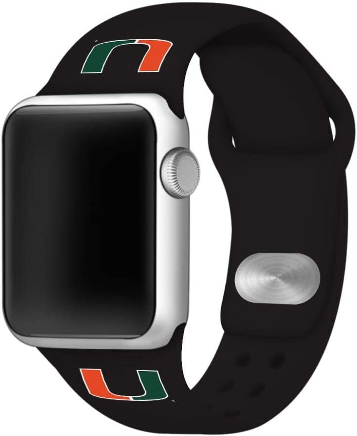 AFFINITY BANDS Miami Hurricanes Silicone Sport Watch Band Compatible with Apple Watch (42mm/44mm - Black)