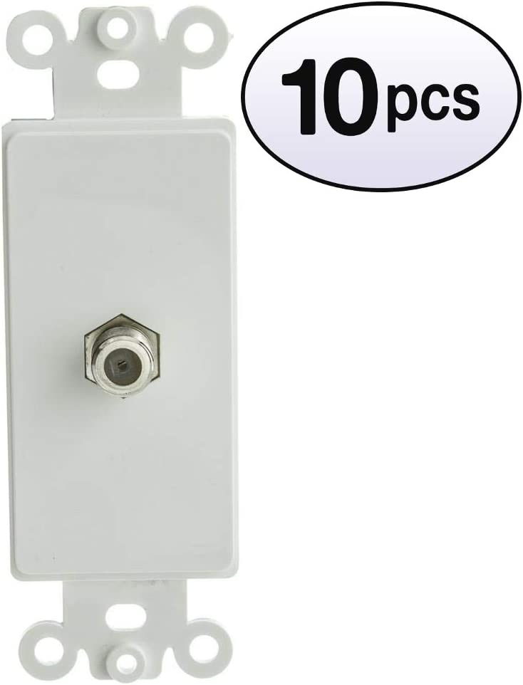 GOWOS 10 Pack Decora Wall Plate F-pin Limited time sale Max 51% OFF C White Coaxial Insert