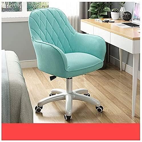 Silla de oficina para computadora de tela cómoda, silla de oficina, altura ajustable, con base cromada, silla giratoria, para hogar/oficina (color: tela verde menta) (color: tela azul zafiro)