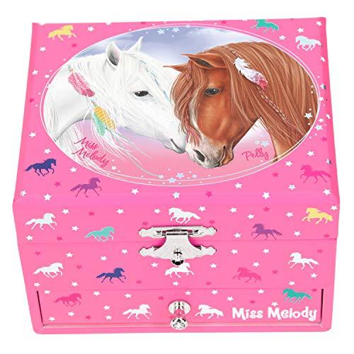 Depesche 10894 Schmuckkästchen mit Spieluhr, Miss Melody, ca. 9 x 13 x 11 cm, rosa