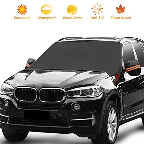 Car Windshield Sunshade, Waterproof Windshield Cover for Car Truck SUV with Side Mirror Covers - Snow/Rain/Frost/UV Full Protection