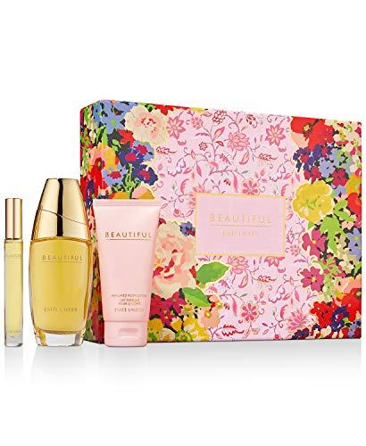 Beautiful by Estee Lauder for Women Beautiful To Go 3 Piece Set Includes: 1.0 oz Eau de Parfum Spray 3.4 oz Perfumed Body Lotion 0.16 oz Eau de Parfum Travel Spray