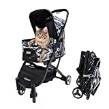 Pet Stroller for Medium Dogs, Small Dogs, Cats, Black - Compact Dog Strollers with One-Hand Folding Design for Trips - Lightweight Stroller for Puppies, Kittens - Premium Pet Travel Supplies