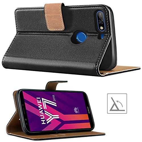 HOOMIL Handyhülle für Huawei Y7 2018 Hülle, Premium Leder Flip Schutzhülle für Huawei Y7 2018/Y7 Prime 2018/Honor 7C Tasche, Schwarz - 4