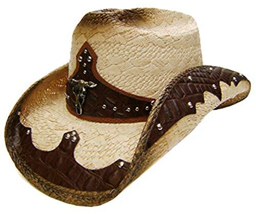 Modestone Unisex Straw Chapeaux Cowboy Bull Head Brown & Beige