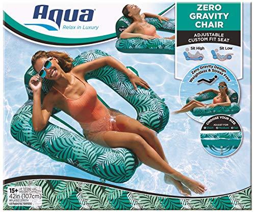 AQUA Zero Gravity Pool Chair Lounge, Inflatable Pool Chair, Adult Pool Float, Heavy Duty, Teal Fern, Blue Teal - Zero G Pool Chair (AZL17290TL)