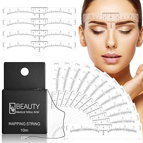 100er Pack Augenbrauenlineal mit 1 Box 10M Premium Eyebrow Mapping Ink String für Microblading