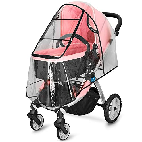 Stroller Rain Cover Universal, Jogging Stroller Rain Cover, Baby Travel Weather Shield, Protect Baby from Sun, Wind, Rain, Snow, Dust