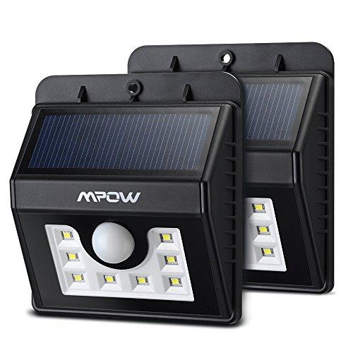 (8LED y # xFF09; Luces solares, Mpow 3en 1inalámbrico resistente al agua luz de seguridad Sensor de movimiento lámpara con 3modos inteligentes para jardín, al aire libre, cerca, Patio, cubierta, Patio, Casa, Entrada, escaleras, pared exterior etc. (2unidades)