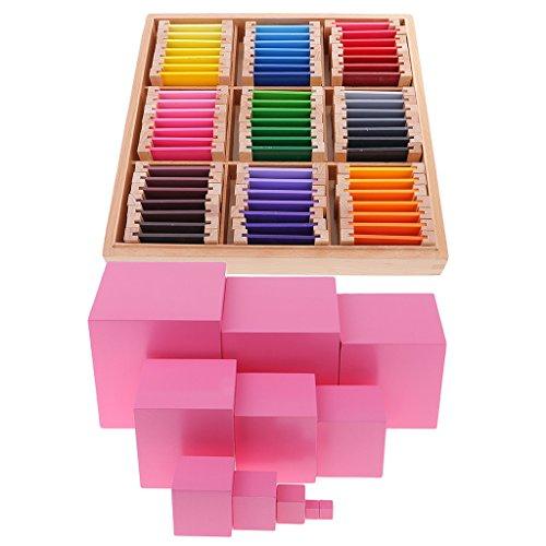 LOVIVER Montessori Juguetes De Madera Caja De Color + Edificio Apilamiento Torre Rosa para Regalo De Niños