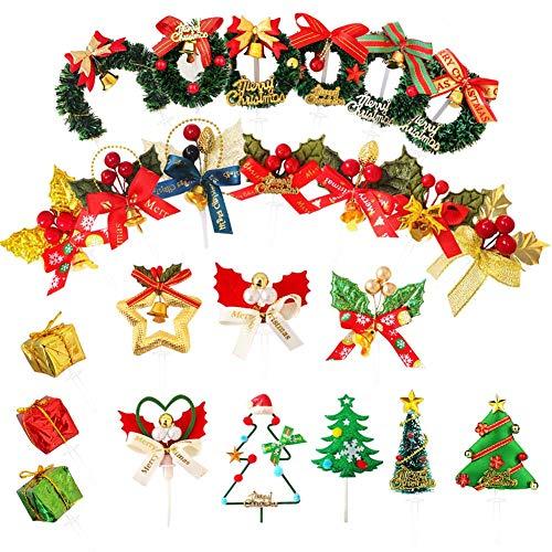 Decorazioni natalizie per torte, 24 pezzi, graziose decorazioni da tavolo, cupcake, stelle, albero, campana, ghirlanda per casa, baby shower, compleanno, Natale