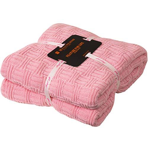 MYLUNE HOME Plaid de 180x200cm Couverture en Coton Tissée Douce -Différents Coloris et Dimensions - Couverture Légère en Eté/Hiver pour Adulte/Enfant/Chien/Chat -Rose